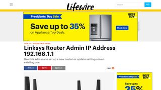 192.168.1.1 Linksys Router Admin IP Address - Lifewire