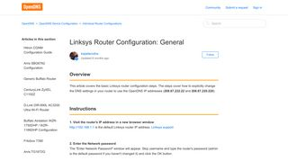 Linksys Router Configuration: General – OpenDNS