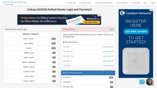 Linksys EA9200 Default Router Login and Password - Clean CSS