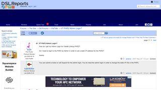 VT PAP2 Admin Login? - ViaTalk | DSLReports Forums