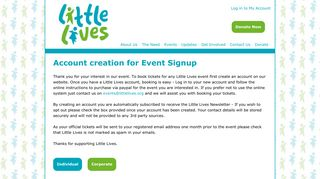 Account creation for Event Signup   Little Lives