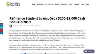 Refinance Student Loans, Get a $200 to $1,000 Bonus in 2019
