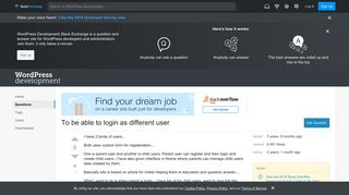 To be able to login as different user - WordPress Development Stack ...