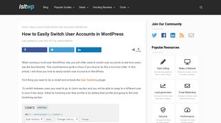 How to Easily Switch User Accounts in WordPress - IsItWP