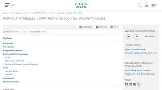 ASA 8.0: Configure LDAP Authentication for WebVPN Users - Cisco