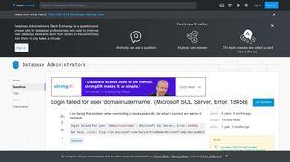 Login failed for user 'domainusername'. (Microsoft SQL Server ...