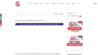 SQL Server error 18456 login failed for user SA - SQLServerGeeks