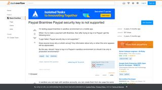 Paypal Braintree Paypal security key is not supported - Stack Overflow