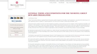Terms and Conditions - NH Hotel Group Rewards - NH Collection
