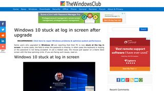 Windows 10 stuck at log in screen after upgrade - The Windows Club