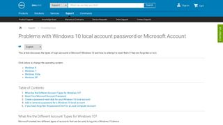 Problems with Windows 10 local account password or Microsoft ... - Dell