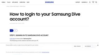 How to login to your Samsung Dive account? | Samsung Support India