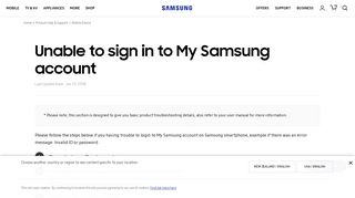 Unable to sign in to My Samsung account | Samsung Support NZ