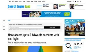 New: Access up to 5 AdWords accounts with one login - Search ...