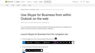 Use Skype for Business from within Outlook on the web - Office Support