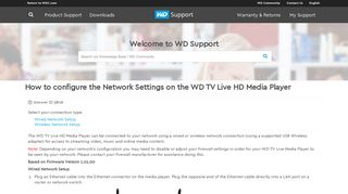 How to configure the Network Settings on the WD TV Live HD Media ...