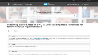 Performing a system reset on a WD TV Live Streaming Media Player ...