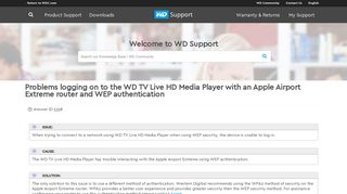 Problems logging on to the WD TV Live HD Media Player with an ...
