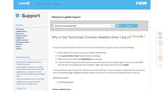 FAQ: Why is the Technician Console disabled when I log in?