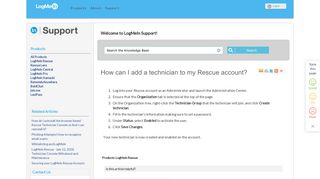 How can I add a technician to my Rescue account? - LogMeIn Support