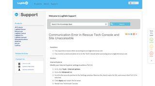 FAQ: Communication Error in Rescue Tech Console and Site ...