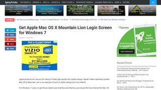 Get Apple Mac OS X Mountain Lion Login Screen for Windows 7
