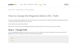 How to change the Magento Admin URL / Path - ProperHost