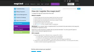 How do I register the magicJack? | Frequently Asked Questions - Help