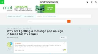 Why am I getting a message pop up sign-in failed for my email ...