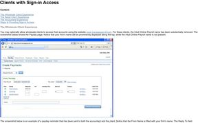 Client Sign-in Information - Manage Payroll