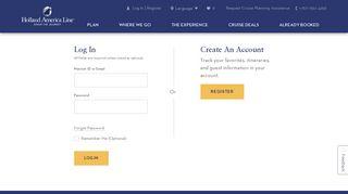 Log In or Create Account   Holland America