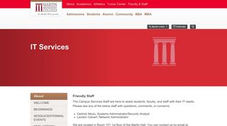 Martin Methodist College: IT Services | Campus Services | About