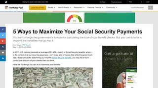 5 Ways to Maximize Your Social Security Payments -- The Motley Fool