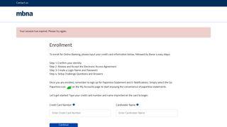 enroll for Online Banking - MBNA