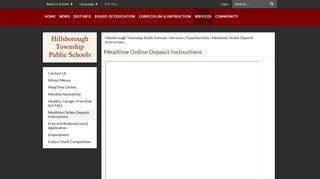 Mealtime Online Deposit Instructions - Hillsborough Township Public ...