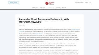 Alexander Street Announces Partnership With MEDCOM-TRAINEX ...