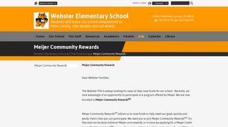 Meijer Community Rewards - Webster Elementary School