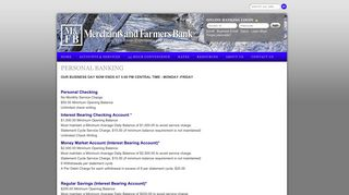 Personal Banking - Merchants and Farmers Bank