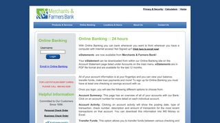 Merchants and Farmers Bank > Online Banking