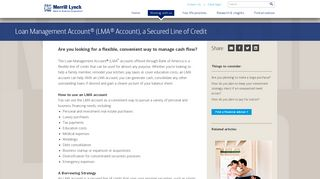 Loan Management Account (LMA) Solutions from Merrill Lynch