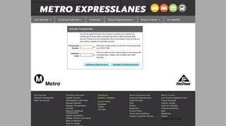 Activate Transponder - Metro ExpressLanes