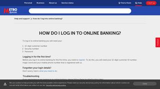 How do I log into online banking? | Help and Support | Metro Bank