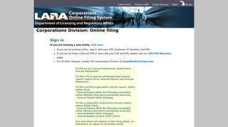 Corporations Division - Login Page