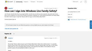 How can I sign into Windows Live Family Safety? - Microsoft Community