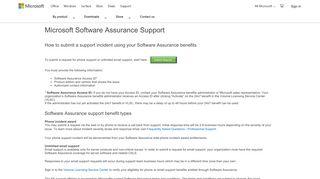 Microsoft Software Assurance Support