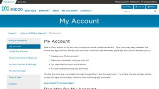 My Account   Midco Billing Support