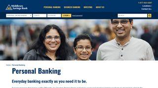 Personal Banking - Middlesex Savings Bank