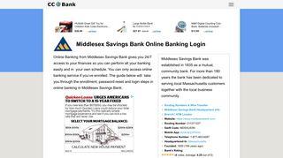 Middlesex Savings Bank Online Banking Login - CC Bank