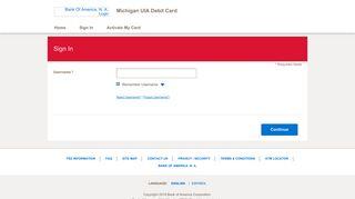 Michigan UIA Debit Card - Sign In - Bank of America