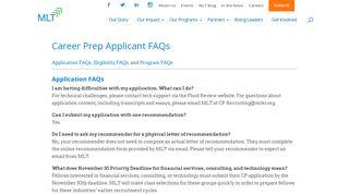 Career Prep Applicant FAQs - Management Leadership for Tomorrow